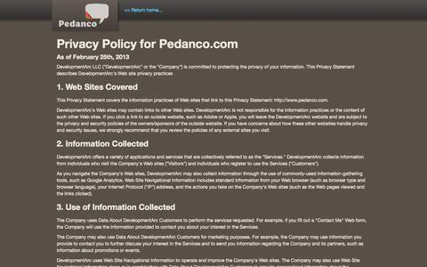 Screenshot of Privacy Page pedanco.com - Pedanco   privacy website - captured Sept. 29, 2014