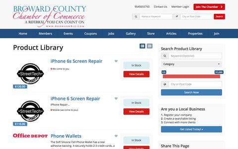 Screenshot of Products Page browardbiz.com - Broward County Chamber of Commerce Products - Find Broward County Chamber Of Commerce Products - captured Oct. 11, 2017