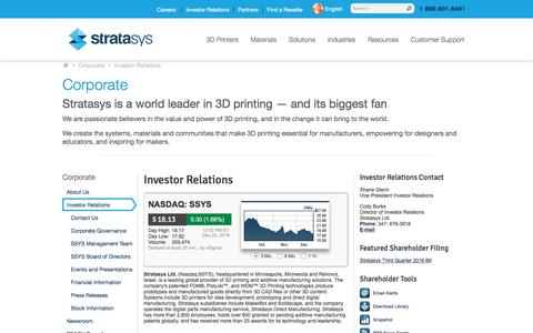 Corporate and Investor Relations   Stratasys