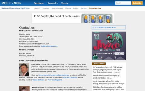 Screenshot of Contact Page medcitynews.com - Contact us - captured Sept. 19, 2014