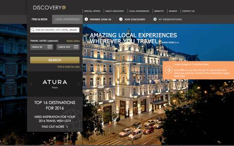 Screenshot of Home Page gha.com - Luxury Resorts & Hotels - Hotel Loyalty Programme - Global Hotel Alliance - captured Jan. 18, 2016