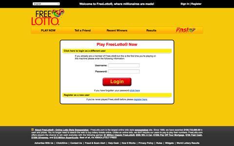 Screenshot of Login Page freelotto.com - Login - Accounts | FreeLotto - captured Sept. 19, 2014