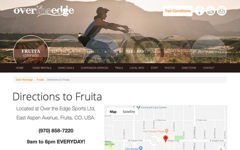 Screenshot of Maps & Directions Page otesports.com - Directions to Fruita - Over The Edge Sports - captured Oct. 11, 2018