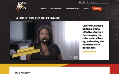 Screenshot of About Page colorofchange.org - Color Of Change | About Color of Change - captured May 19, 2017