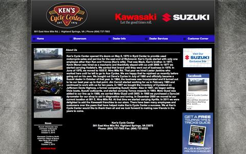 Screenshot of About Page kenscycle.com - Ken's Cycle Center Richmond, Virginia, VA , Highland Springs, Virginia, VA, Suzuki motorcycles, ATV's, scooters, parts, service, Kawasaki - captured Oct. 6, 2014
