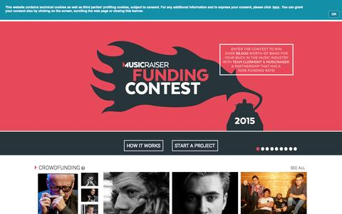 Screenshot of Home Page musicraiser.com - Musicraiser - captured Oct. 1, 2015