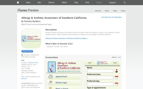 Screenshot of iOS App Page apple.com - Allergy & Asthma Associates of Southern California on the App Store on iTunes - captured Oct. 23, 2014