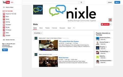 Screenshot of YouTube Page youtube.com - Nixle  - YouTube - captured Oct. 28, 2014