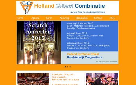 Screenshot of Home Page koorbegeleidingen.nl - Holland Orkest Combinatie - captured Oct. 7, 2014