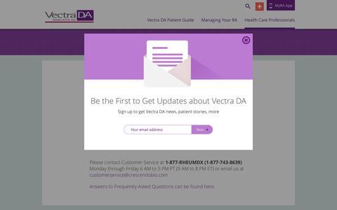 Screenshot of Support Page vectrada.com - Vectra DA | Contact Vectra DA Customer Service - captured April 13, 2016