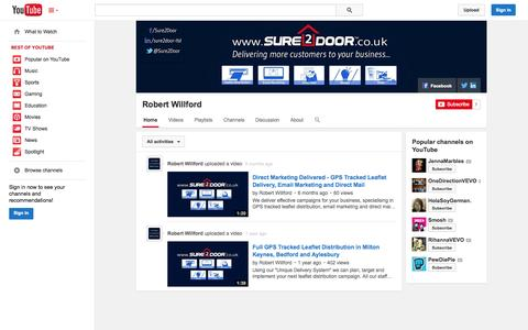 Screenshot of YouTube Page youtube.com - Robert Willford  - YouTube - captured Oct. 26, 2014