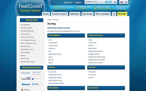 Screenshot of Site Map Page feelgoodcontacts.com - Site Map | Feelgoodcontacts.com® - captured Nov. 1, 2014