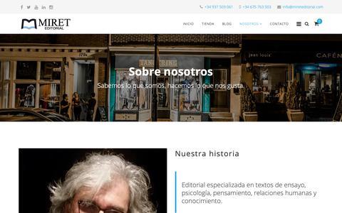 Screenshot of About Page mireteditorial.com - MIRET EDITORIAL - Sobre Nosotros - captured Oct. 20, 2018