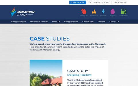 Screenshot of Case Studies Page mecny.com - Case Studies - Marathon Energy - captured Dec. 12, 2019