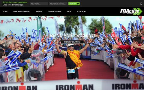 Screenshot of Home Page rgactive.com - RG Active | Triathlon & MultiSport Coaching Company - captured Aug. 17, 2015