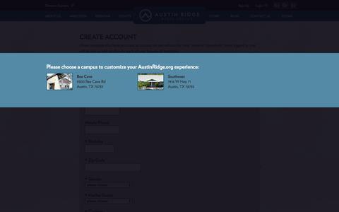 Screenshot of Signup Page austinridge.org - Austin Ridge Bible Church - Create Account - captured Oct. 5, 2014