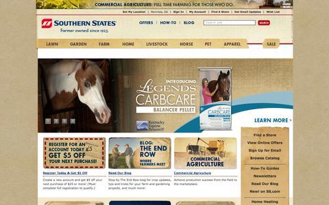 Screenshot of Home Page southernstates.com - Farm Supply Store | Ag Supply Store - Southern States Cooperative - captured Sept. 24, 2014
