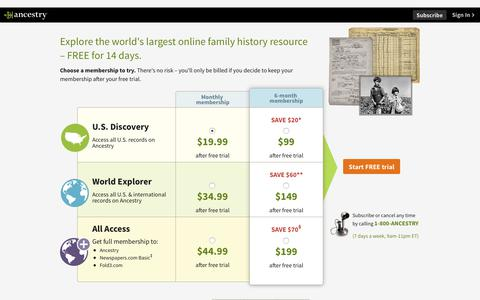 Screenshot of Trial Page ancestry.com - Start your FREE trial at Ancestry - captured June 23, 2018