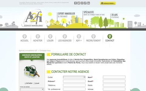 Screenshot of Contact Page a2fi.com - Formulaire de contact - Agences immobilières A2fi - captured Oct. 4, 2014