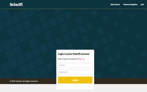 Screenshot of Login Page solarifi.com - Solarifi - Solar decision making made easy - captured Sept. 26, 2014