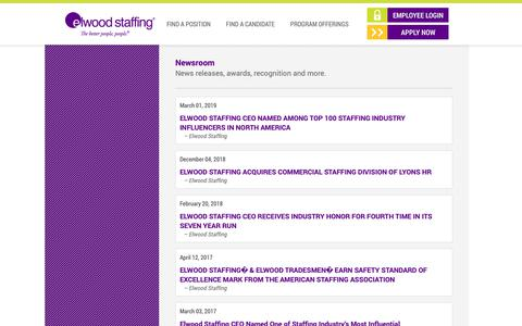 Screenshot of Press Page elwoodstaffing.com - Newsroom | Elwood Staffing - captured April 5, 2019