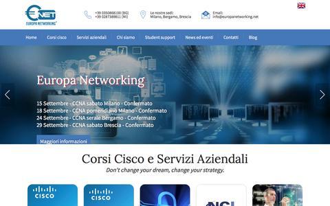 Screenshot of Home Page europanetworking.net - Europa Networking - Corsi Cisco e Reti aziendali professionali - captured July 21, 2018