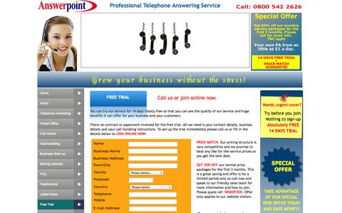 Screenshot of Trial Page answerpoint.co.uk - Free Trial, Starting A Business UK, Secretarial Services London - captured Oct. 4, 2014