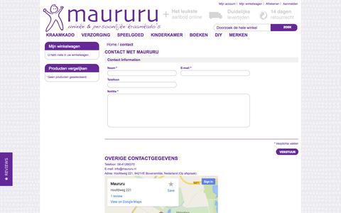 Screenshot of Contact Page maururu.nl - contact - captured Oct. 27, 2014