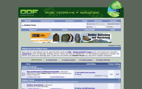Screenshot of Home Page outdoor-foren.de - Outdoor Forum mit Outdoor-Fotoforum - Forum für Naturfreunde,  Test von Outdoor Bekleidung & Ausrüstung - captured Sept. 19, 2014