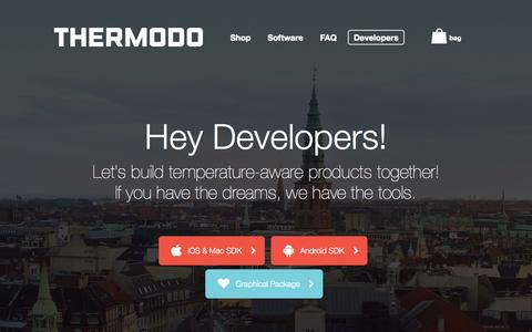 Screenshot of Developers Page thermodo.com - Thermodo ~ Developers - captured Nov. 4, 2014