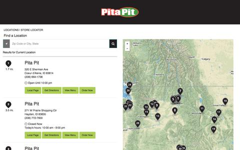 Screenshot of Locations Page pitapitusa.com - Pita Pit Store Locator - captured July 18, 2018