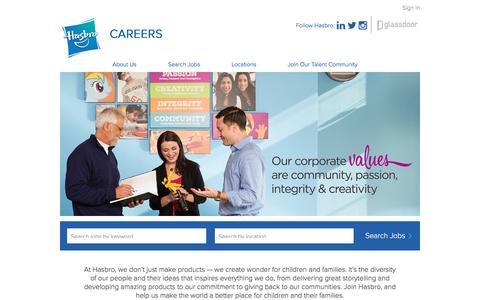 Screenshot of Jobs Page hasbro.com - Jobs at Hasbro - captured Aug. 22, 2016