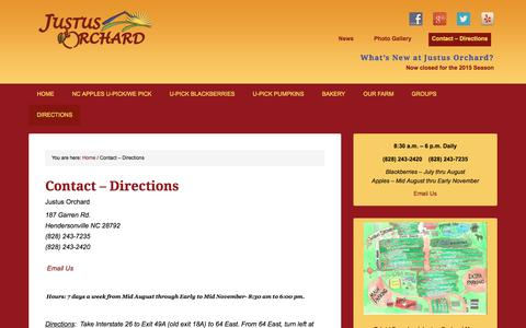 Screenshot of Maps & Directions Page justusorchard.com - NC-Orchard,Hendersonville,NC,Directions — Justus Orchard - captured June 20, 2016