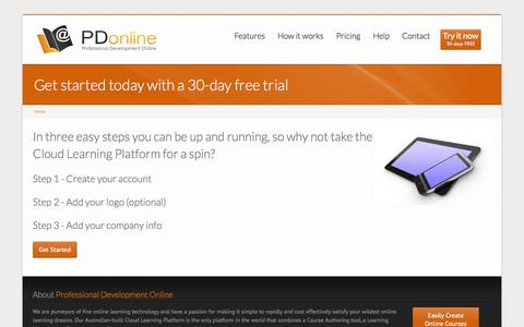 Screenshot of Trial Page pdonline.net.au - Get started today with a 30-day free trial | Professional Development Online (PD Online) - captured Oct. 3, 2014