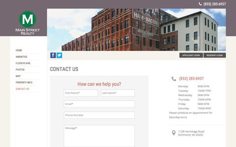 Screenshot of Contact Page toddlofts.net - Contact Todd Lofts to Schedule a Visit - captured March 13, 2017