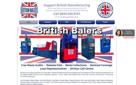 Screenshot of Home Page britishbalers.com - Balers, Compactors and other recycling equipment All made in Britian - captured Sept. 30, 2014