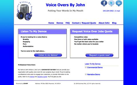 Screenshot of Home Page voiceoversbyjohn.com - Voice Overs - John Amburn - Voice Over Acting - captured Oct. 9, 2014