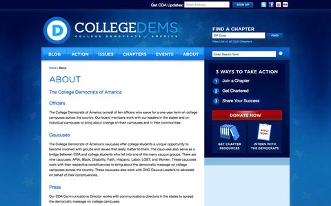 Screenshot of About Page collegedems.com - About «  College Democrats of America - captured Oct. 8, 2014