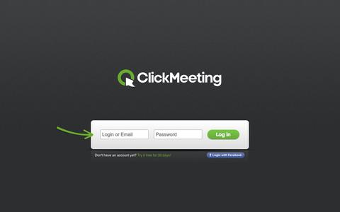 Screenshot of Login Page clickmeeting.com - Web Conferencing Solution - Sign in - ClickMeeting.com - captured Sept. 18, 2014