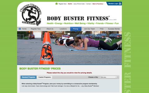 Screenshot of Pricing Page bodybusterfitness.com - Pricing Information For The Fitness Boot Camp Program:: Body Buster Fitness - captured Sept. 30, 2014