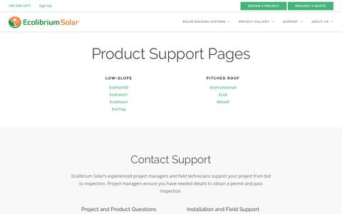 Screenshot of Support Page ecolibriumsolar.com - Support | Ecolibrium Solar - captured Sept. 12, 2019