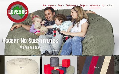 Screenshot of Home Page lovesac.com.au - Bean Bags, Filling, Beans, Covers, Childrens - Melbourne, Sydney - captured Feb. 1, 2016