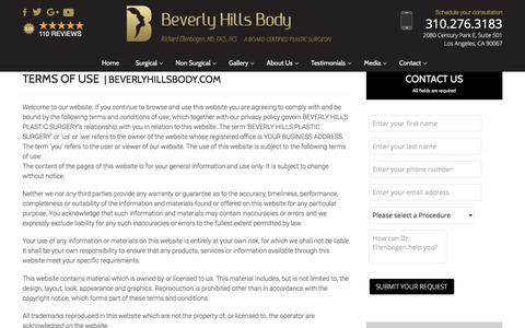 Screenshot of Terms Page beverlyhillsbody.com - Beverly Hills Plastic Surgery - Los Angeles, West LA, Century City, Hollywood - captured Oct. 10, 2017