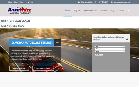Screenshot of Home Page awautoglass.com - Windshield & Auto Glass Replacement by AutoWorx Auto Glass Replacers - captured Nov. 21, 2016