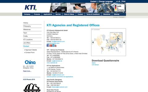 Screenshot of Contact Page kti-plersch.com - KTI Agencies and Registered Offices - captured Nov. 10, 2016