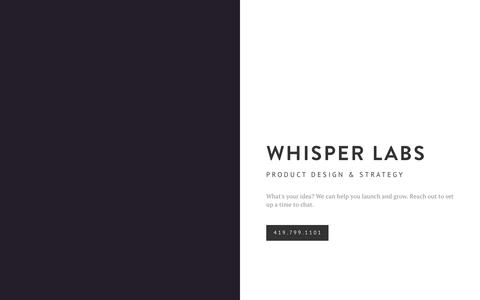 Screenshot of Home Page whisperlabs.com - Whisper Labs - captured Sept. 20, 2018