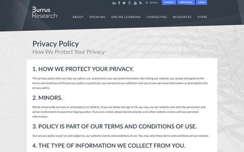 Screenshot of Privacy Page burrus.com - Privacy Policy - Daniel Burrus - captured Feb. 8, 2016