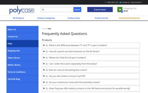 Screenshot of FAQ Page polycase.com - Frequently Asked Questions | Polycase - captured Sept. 28, 2018