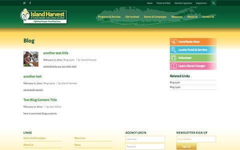 Screenshot of Blog islandharvest.org - Blogs - Island Harvest - captured Sept. 30, 2014