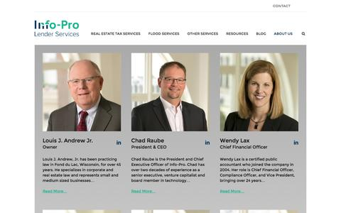 Screenshot of Team Page info-pro.com - Mortgage Service Center Team   Info-Pro Lender Services - captured March 1, 2016